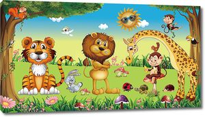 Тигренок, львенок и жираф на полянке