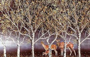 Семья оленей под березами