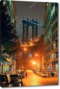 Манхэттен с мостом на заднем плане