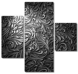 Черный цветочный узор с эффектом 3D