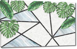 Пальмовые листья на расчерченной стене