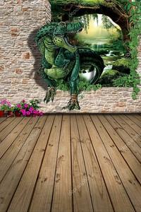 Динозавр проходит через отверстие в стене