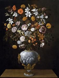 Томас Йепес.Букет цветов в вазе с колесницей