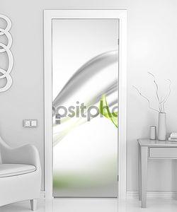 Абстрактные Грей, размахивая фон с зелеными листьями