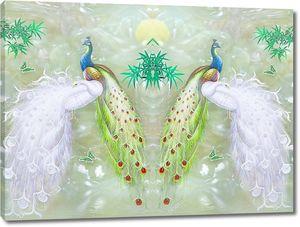 Легкий мраморный фон, зеркальные белые и красочные павлины, зеленый бамбук и бабочки