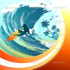 Серфингист внутри огромной волны
