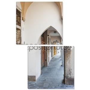Традиционная итальянская штукатурка арочная улица