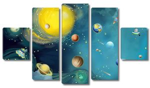 Планеты и межпланетные корабли в космосе
