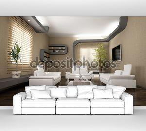 Современный интерьер с белыми диванами