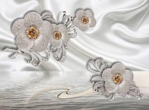 Броши из цветов на ткани
