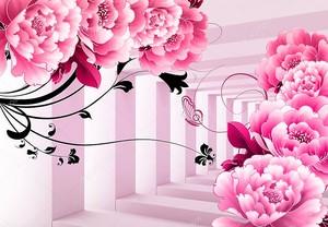 Большие розовые  цветы в тоннеле