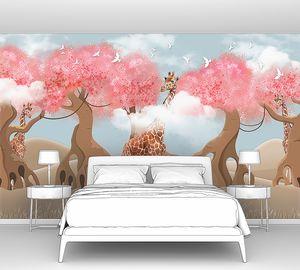 Жираф с розовыми деревьями
