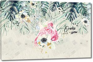 Цветы с фламинго
