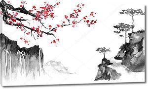 Япония традиционных Суми э картина. Тушью иллюстрации. Японская картина. Сакура и горы