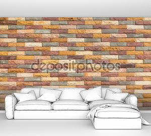 Кирпичная стена разноцветными кирпичами