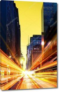 современный городской город в ночное время