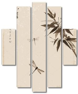 Бамбук и стрекоз японской живописи