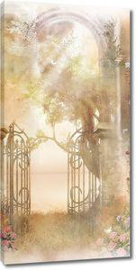 Красивый забор в саду