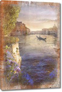 Вид на вечернюю Венецию в рамке