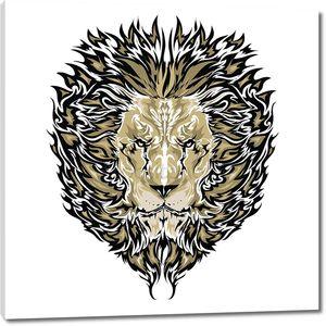 Эскиз татуировки вектор львиная лице белый фон