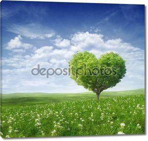 дерево в форме сердца, день Святого Валентина фон