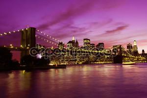 Бруклинский мост и Манхэттен на закате, Нью-Йорк