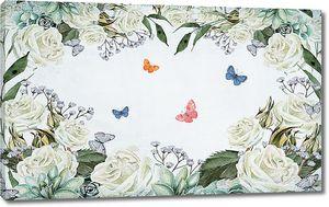 Белые розы и бабочки