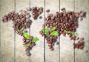 Карта мира из зерен кофе