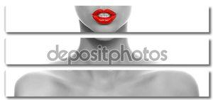Красные губы в черно-белой кожи