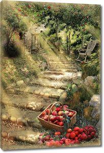 Лестница в солнечном саду