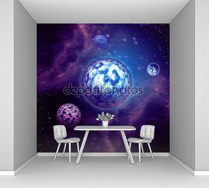 Фиолетовый космос облаками и планет