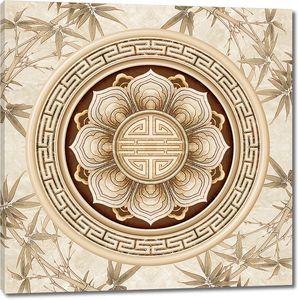Цветочный плафон на бамбуковом фоне