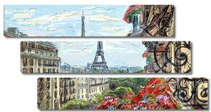 Красивый рисунок с видом на Эйфелеву башню