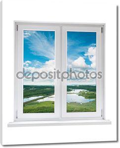 Белые пластиковые двойная дверь окно с видом