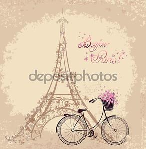 Bonjour Paris текст с Эйфелевой башни и велосипеде. романтический postc
