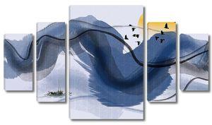 Рыбак на фоне абстрактных гор