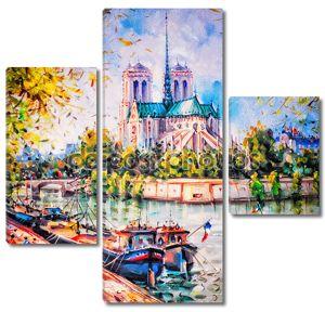 Красочная картина Нотр-Дам в Париже