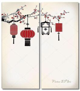 Китайские фонарики на вишневом дереве