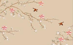 Ветки с мелкими красными цветочками