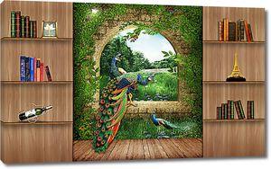 Фреска с павлинами в интерьере