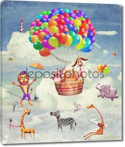 Фантастические животные в небе на шаре