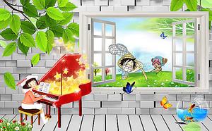 Девочка за роялем у окна