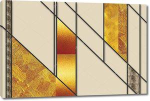 Абстрактный бежевый узор с черными линиями и золотым стеклом