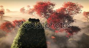 Антенна фэнтези травяной холм пейзаж с красными осенними деревьями