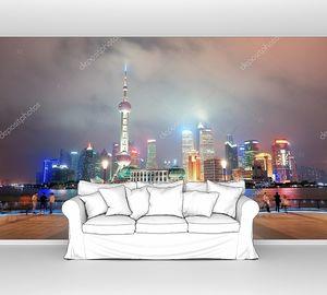 Шанхай небоскребы ночью