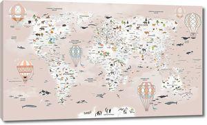 Карта мира с животными и шарами