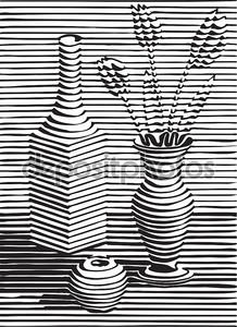 Натюрморт с посудой, цветок, черный силуэт apple o