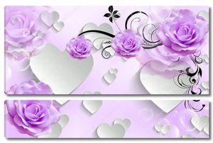 Бумажные сердца, лиловые розы