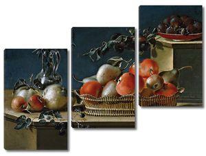 Феррер Хосе. Натюрморт с фруктами и стеклянной вазой