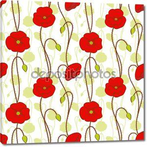 Весной красный цветок мака бесшовный фон